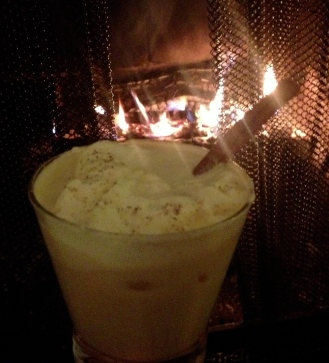 Auntie's famous Homemade Eggnog by a roaring fire