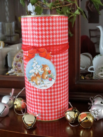 To: Sister Recycled whiskey case wrapped covered with playful red gingham paper, sparkly red ribbon, with sweet vintage bunny tag